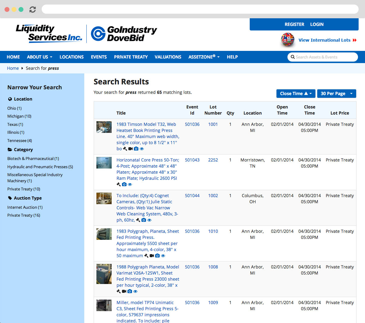 GoIndustry DoveBid Search Results